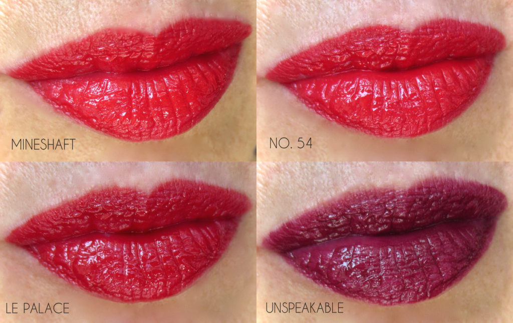 NARS Velvet Lip Glide The Reds swatches